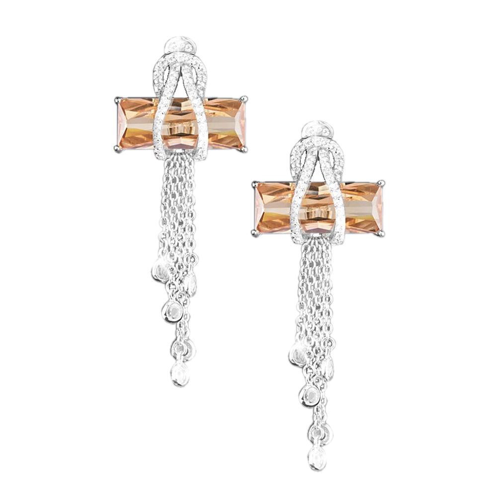 Contemporary Cross Champagne Earrings