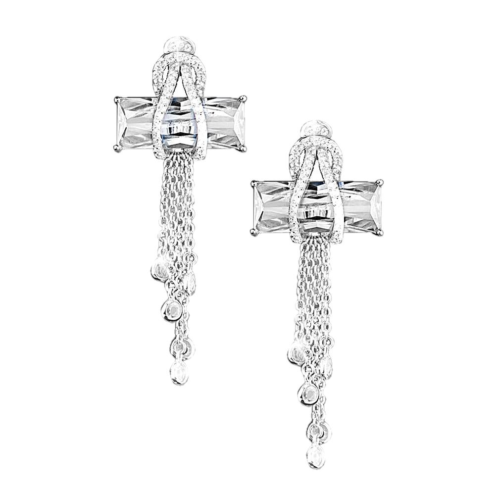 Contemporary Cross Clear Earrings