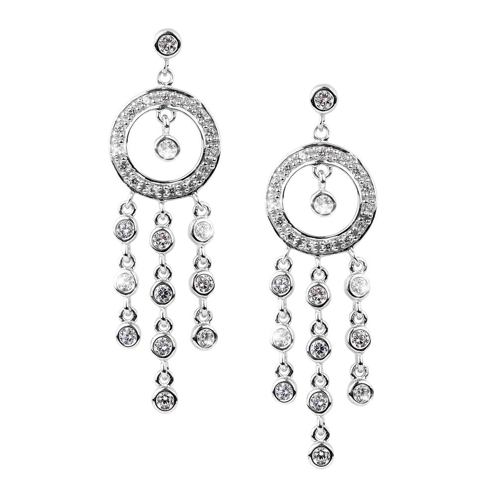 Raindrop Chandelier Rhodium Earrings
