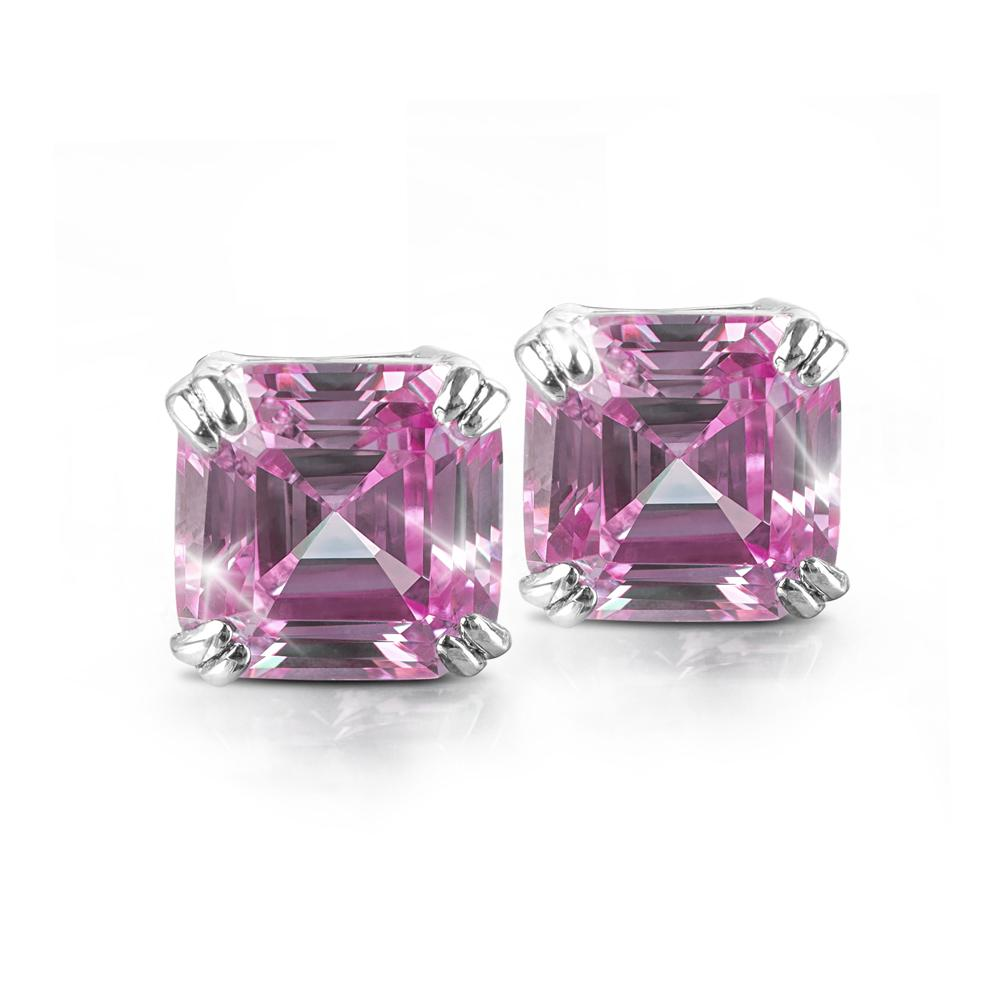 Asscher Pretty In Pink Earrings