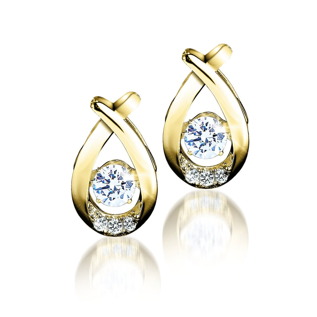 18k Gold Finished Sterling Silver Dancing Jewelry Collection Earrings With Dazzling Diamondeau®