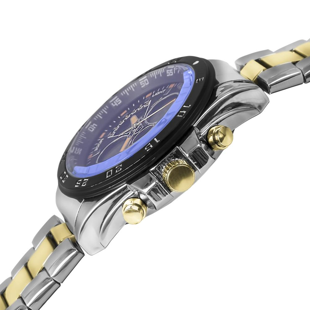 Two-Tone Stainless Steel & Gold Lazer Blue Watch