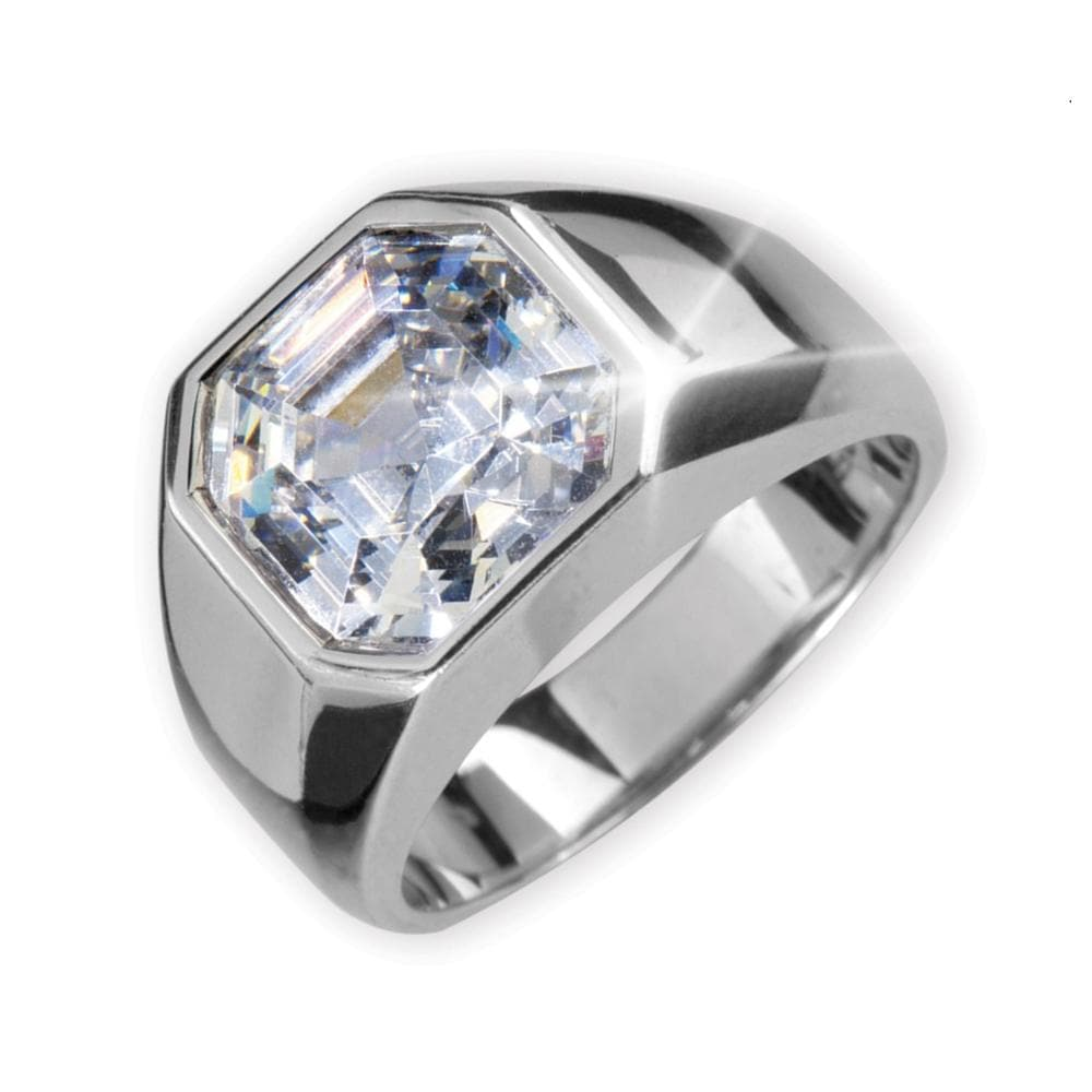 Rhodium Asscher Cut Men's Ring
