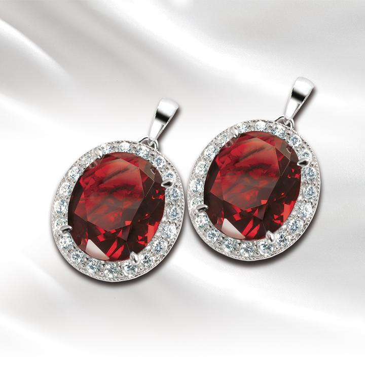 Millionaire Oval Red Earrings
