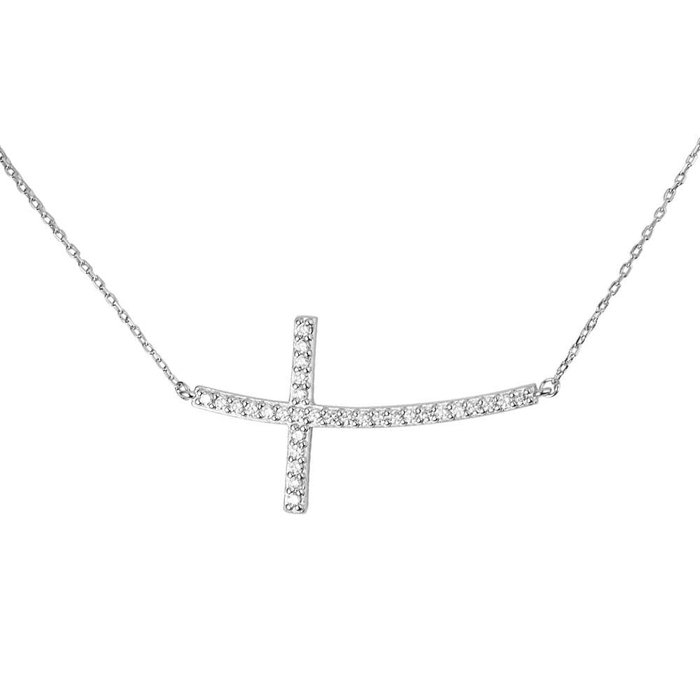 Reclining Cross Rhodium Necklace