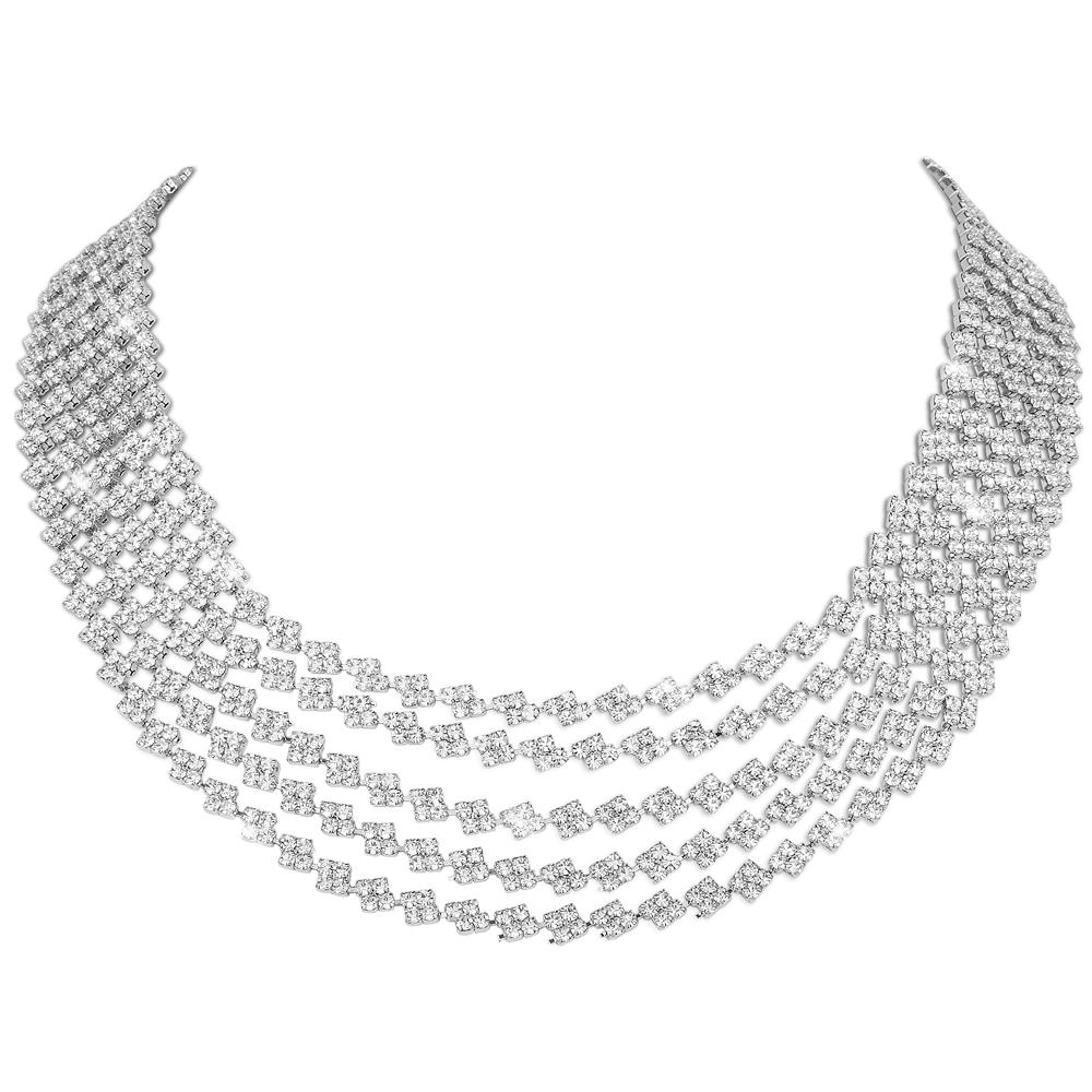 Ice Extravaganza Rhodium Necklace