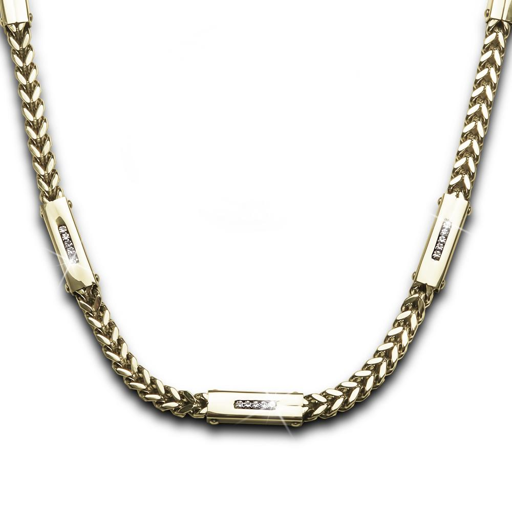 Daniel Steiger 18k Yellow Gold Finished Premium Grade Stainless Steel Quadrent Steel Collection Necklace