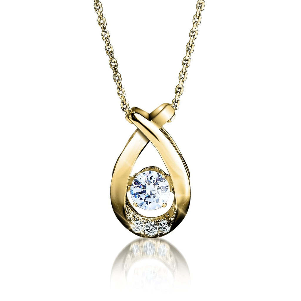 18k Gold Finished Sterling Silver Dancing Jewelry Collection Pendant With Dazzling Diamondeau®