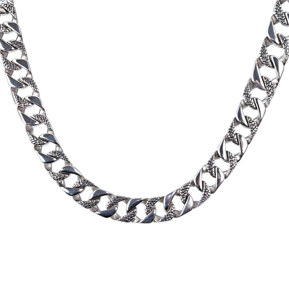 Silver textured men's necklace