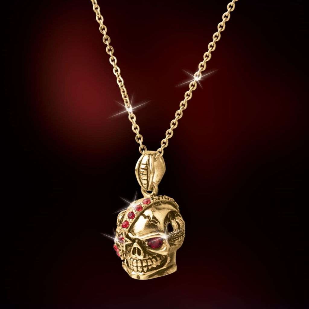 Daniel Steiger 18k Yellow Gold Fiery Red Diamondeau® Encrusted Harley Skull Pendant - Catalogue Shot