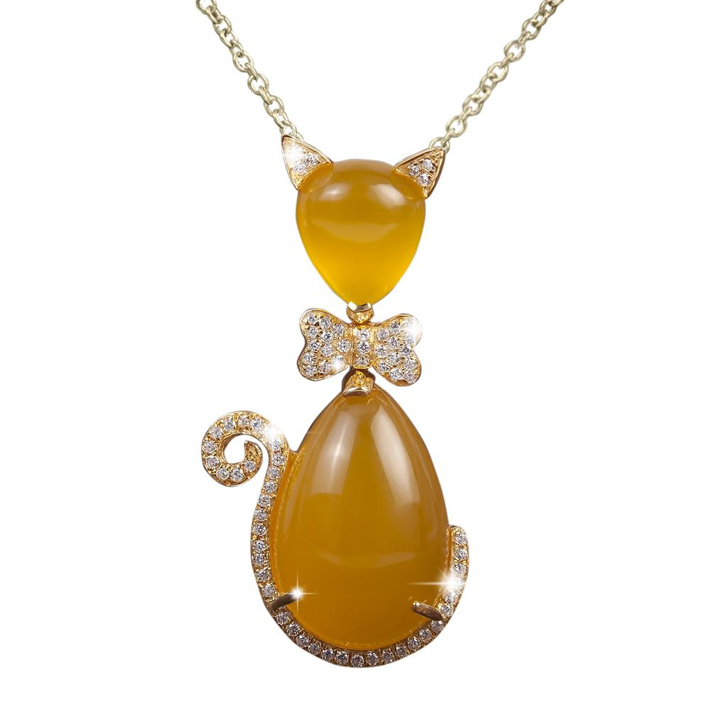 Bow Cat Tangerine Pendant