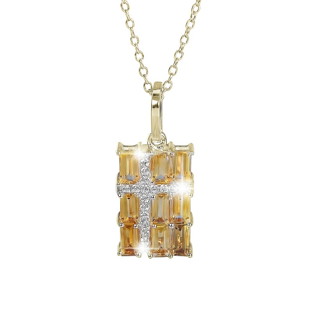 Citrine Star Cross Pendant