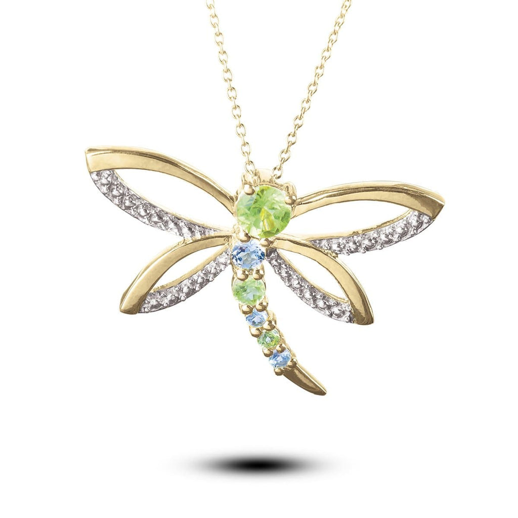 Imperial Gemstone Dragonfly Pendant