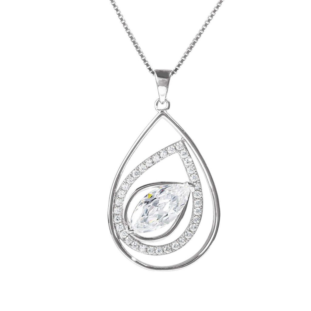 Ella Pear-Shape Rhodium Pendant