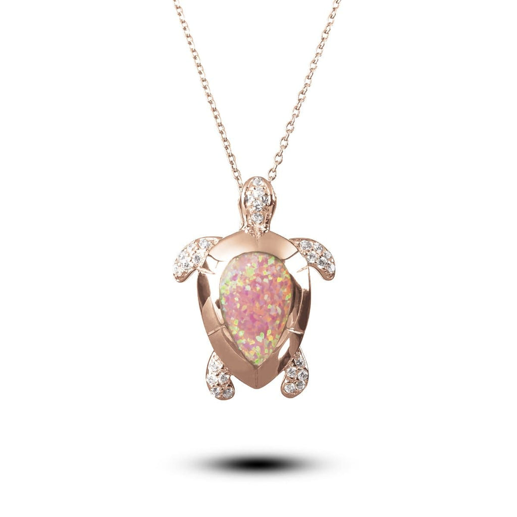 Opal Turtle Rose Gold Pendant
