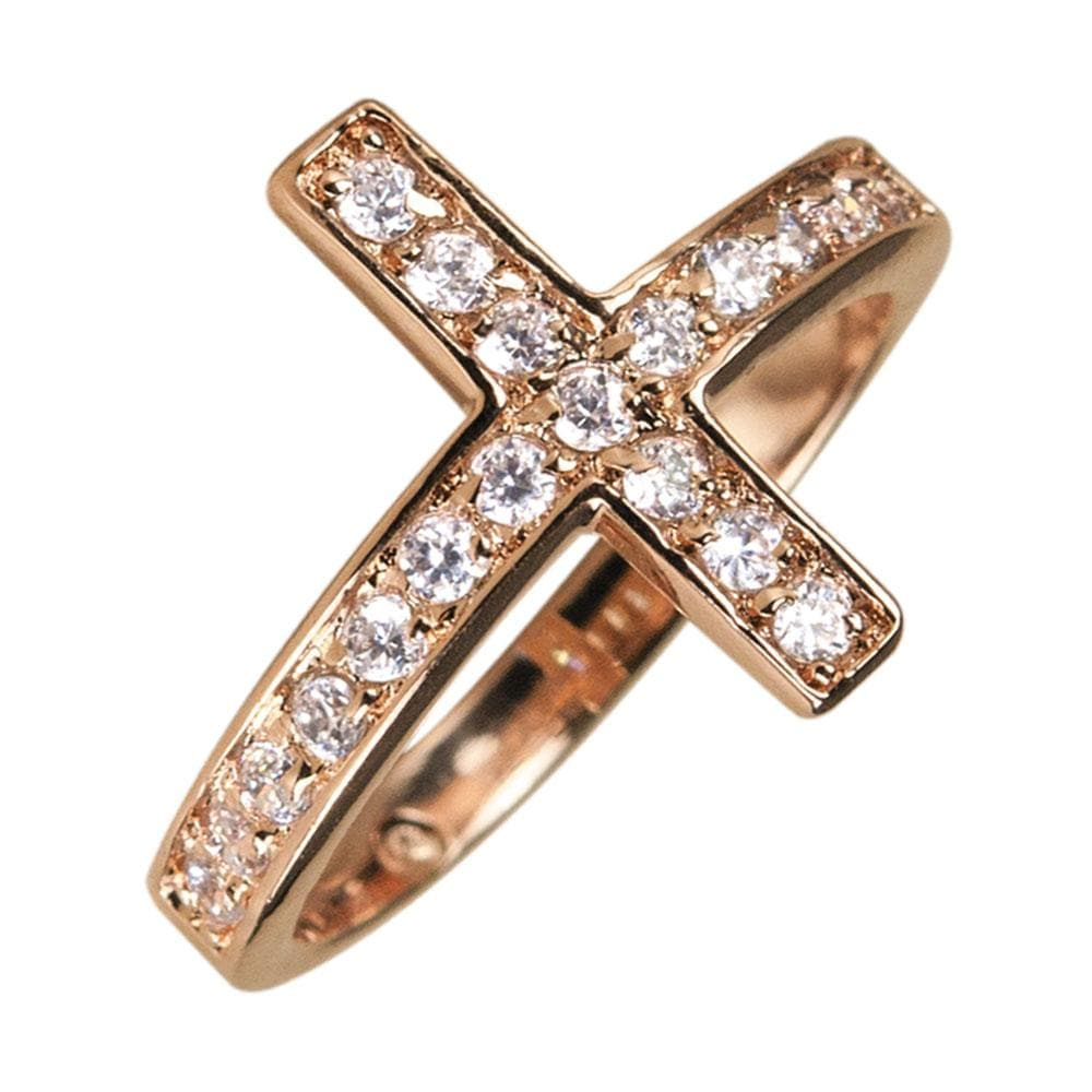 Reclining Cross Gold Ring