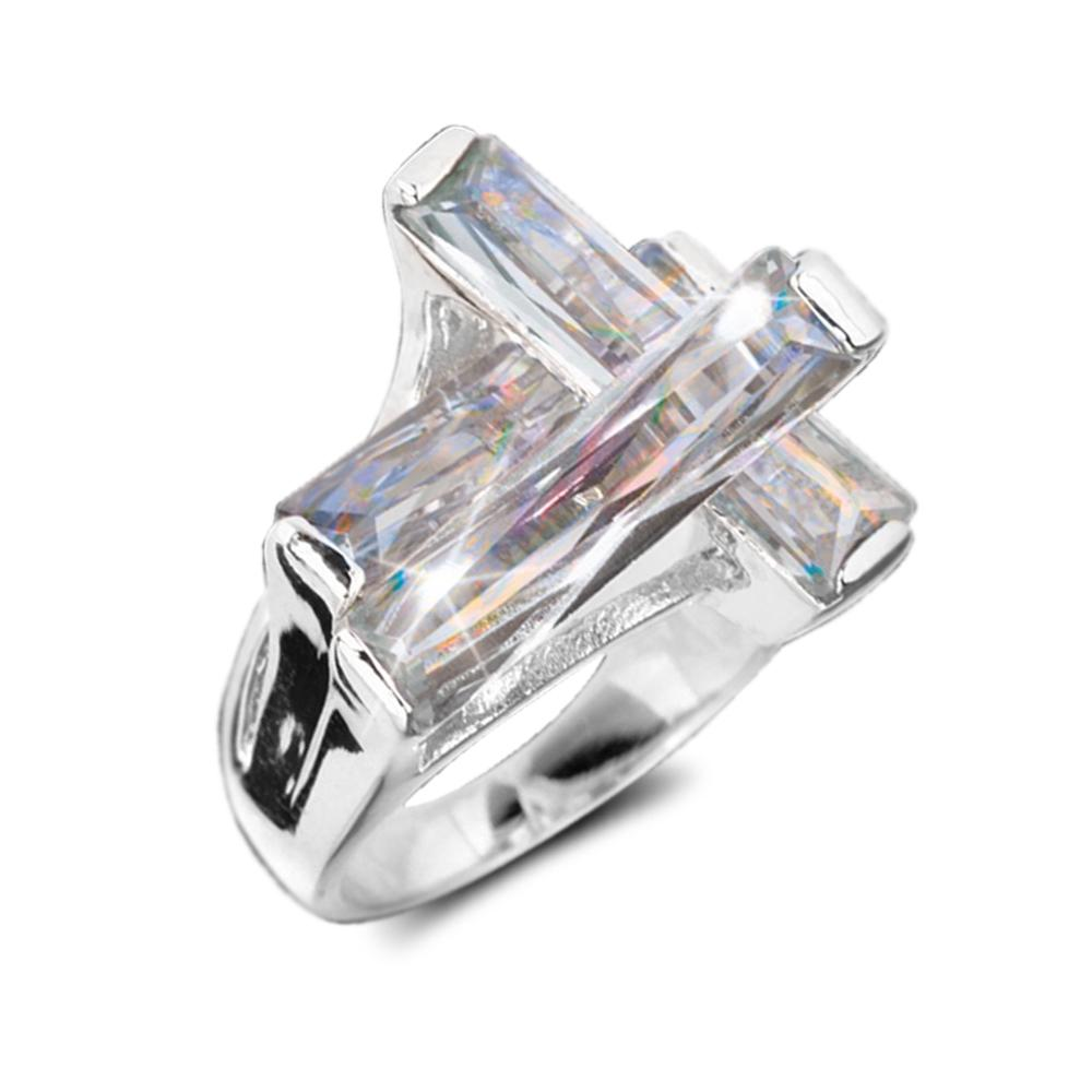 Contemporary Cross Ring Clear