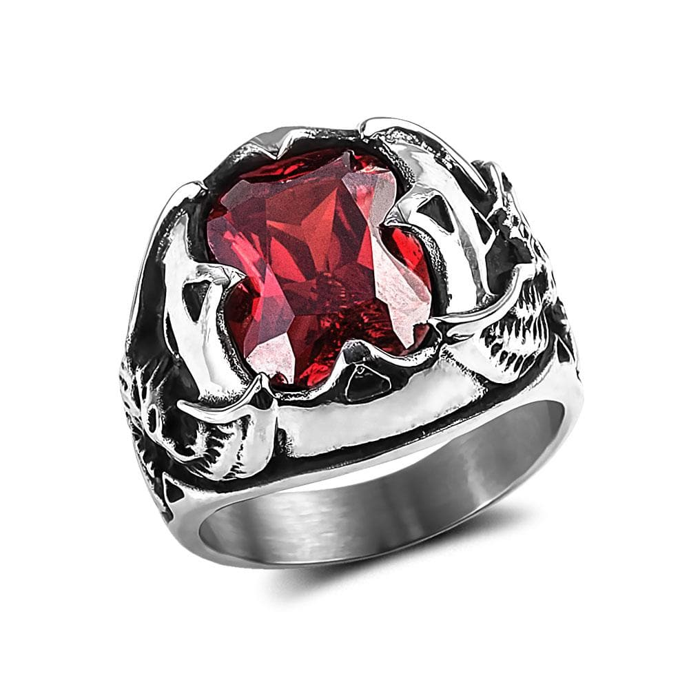 Men's Red Eagle Stone Ring