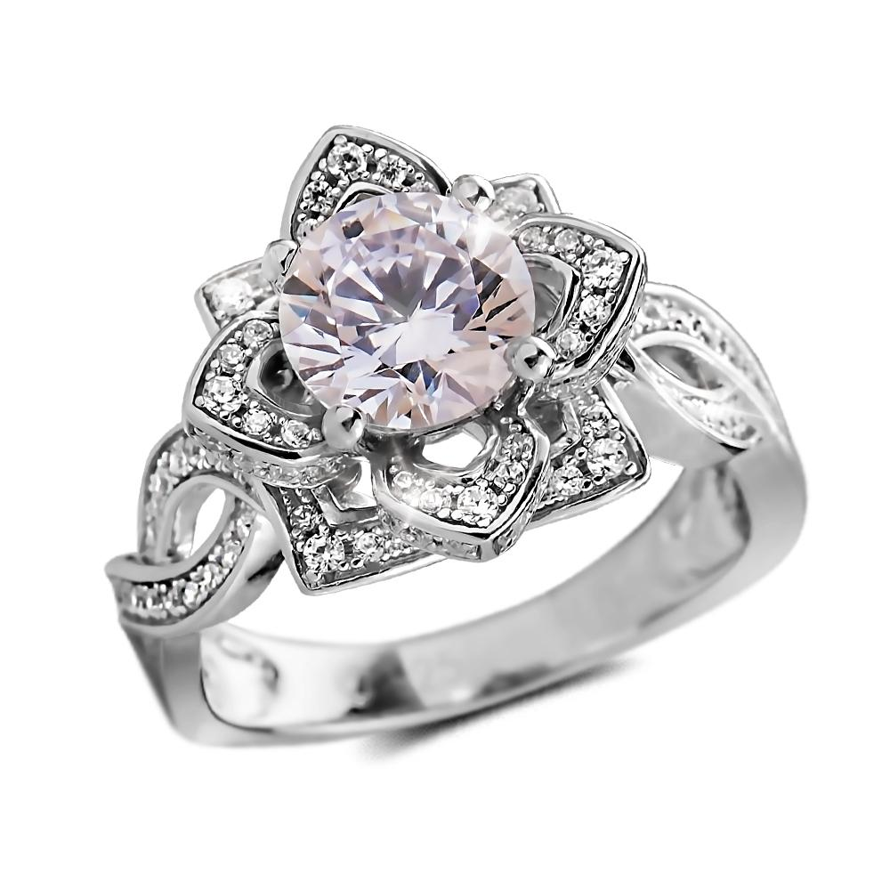 Garden Rose Rhodium Ring
