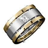 Two-Tone Stainless Steel & Gold Men's Quattro Ring