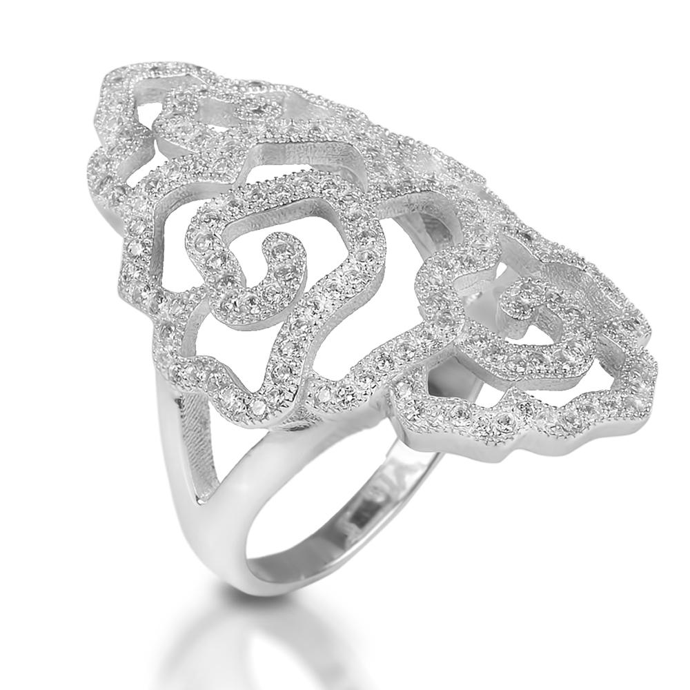Desert Rose Rhodium Ring