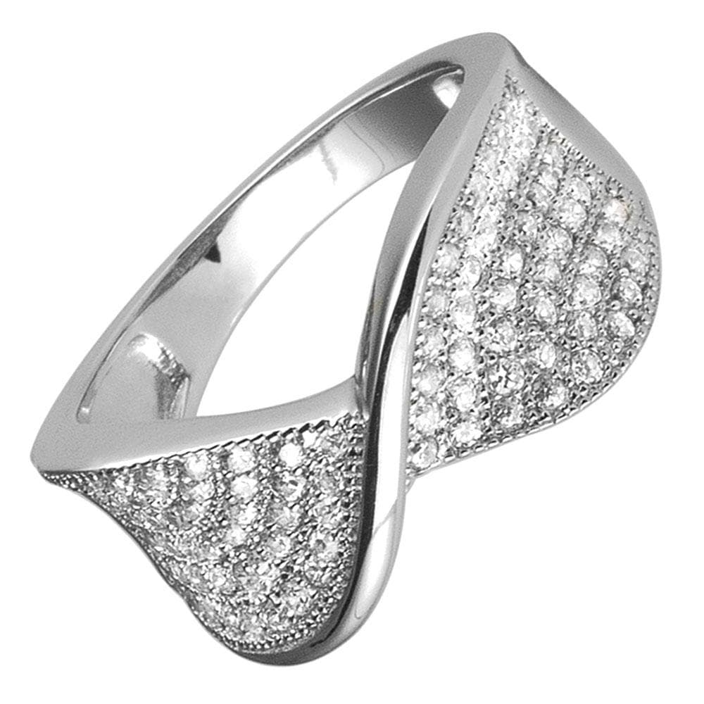 Pave Twist Rhodium Ring