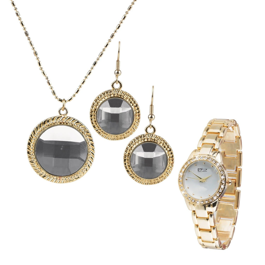 Ladies Bedazzled Gold & White Watch Set
