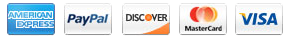 AMEX, PayPal, Discover, Mastercard and Visa Payments Accepted