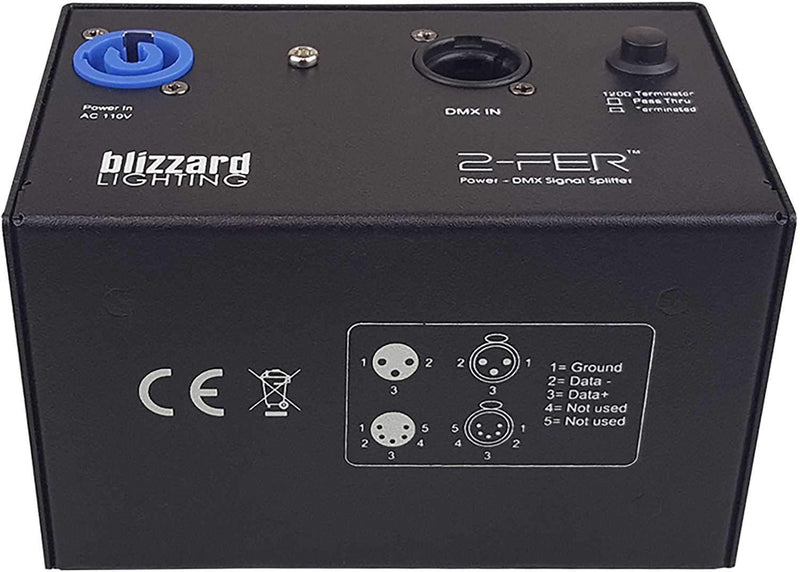 Blizzard 2-FER-3PIN Power & DMX Signal Splitter - ProSound and Stage Lighting