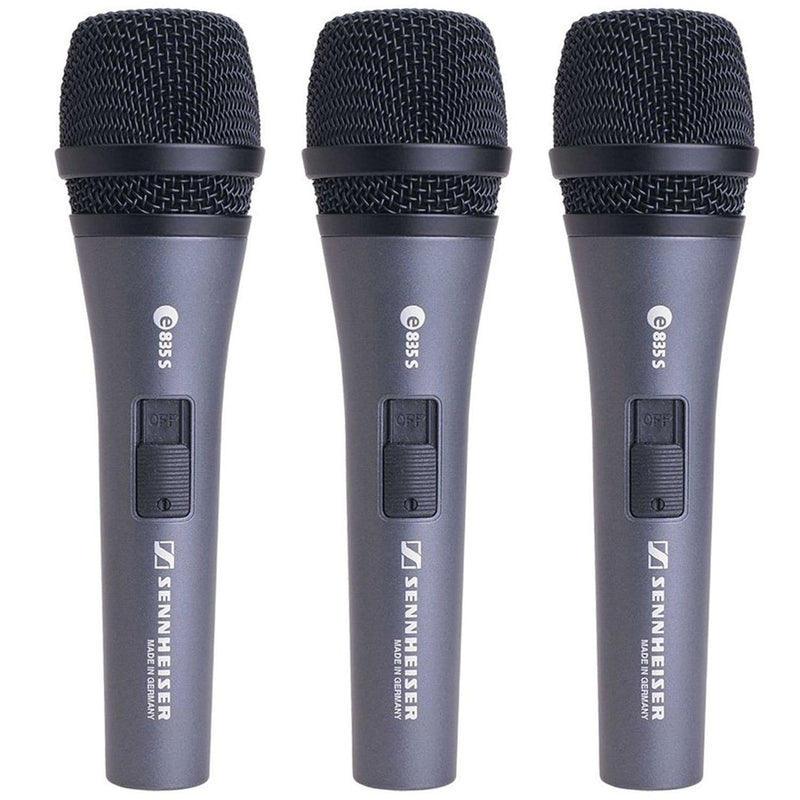 Sennheiser e835-S Dynamic Switched Microphone 3-Pack - PSSL ProSound and Stage Lighting