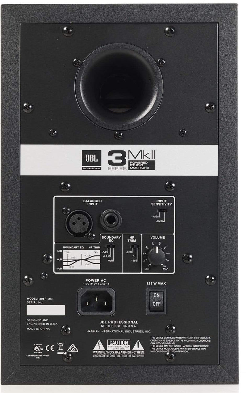 JBL 3 Series 305P MKII 5-inch Powered Studio Monitor (single) - PSSL ProSound and Stage Lighting