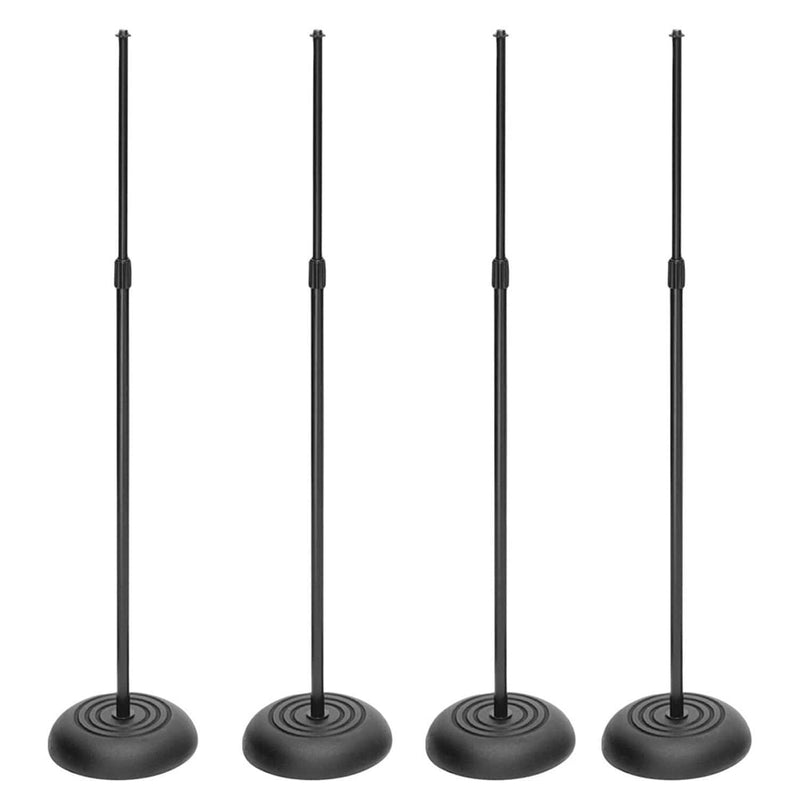 Four Pack Professional Round Base Mic Stand - PSSL ProSound and Stage Lighting