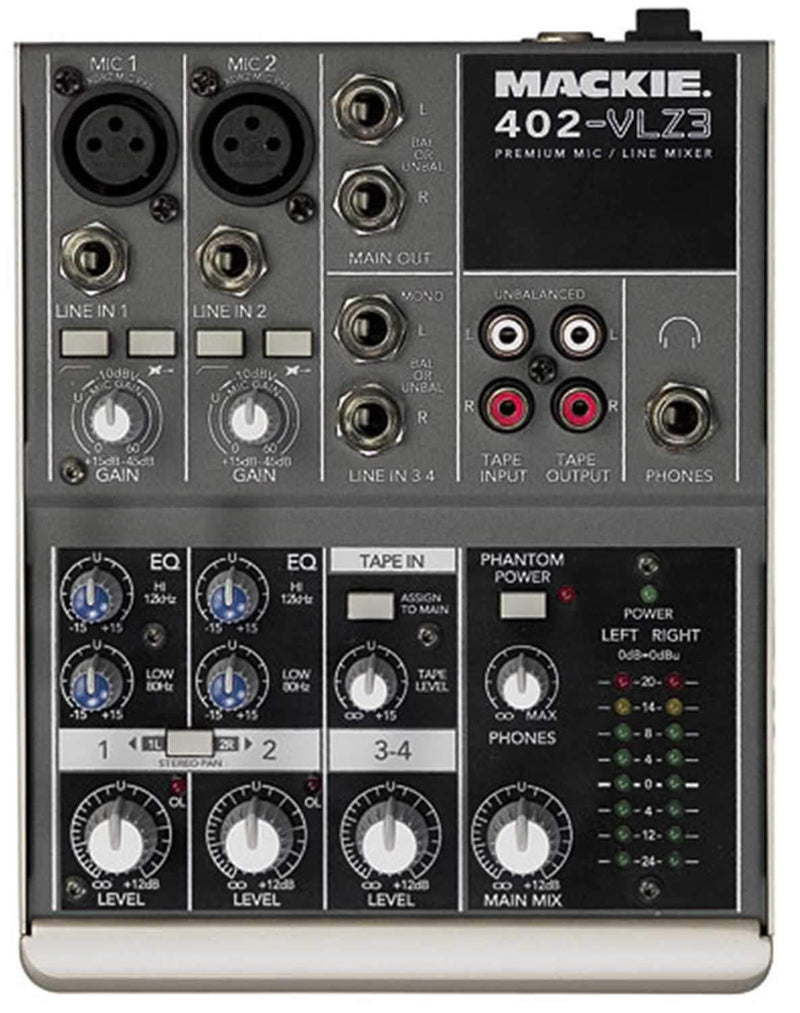 Mackie 402-VLZ3 4Ch Mixer with 2 XDR MicPres & EQ - PSSL ProSound and Stage Lighting