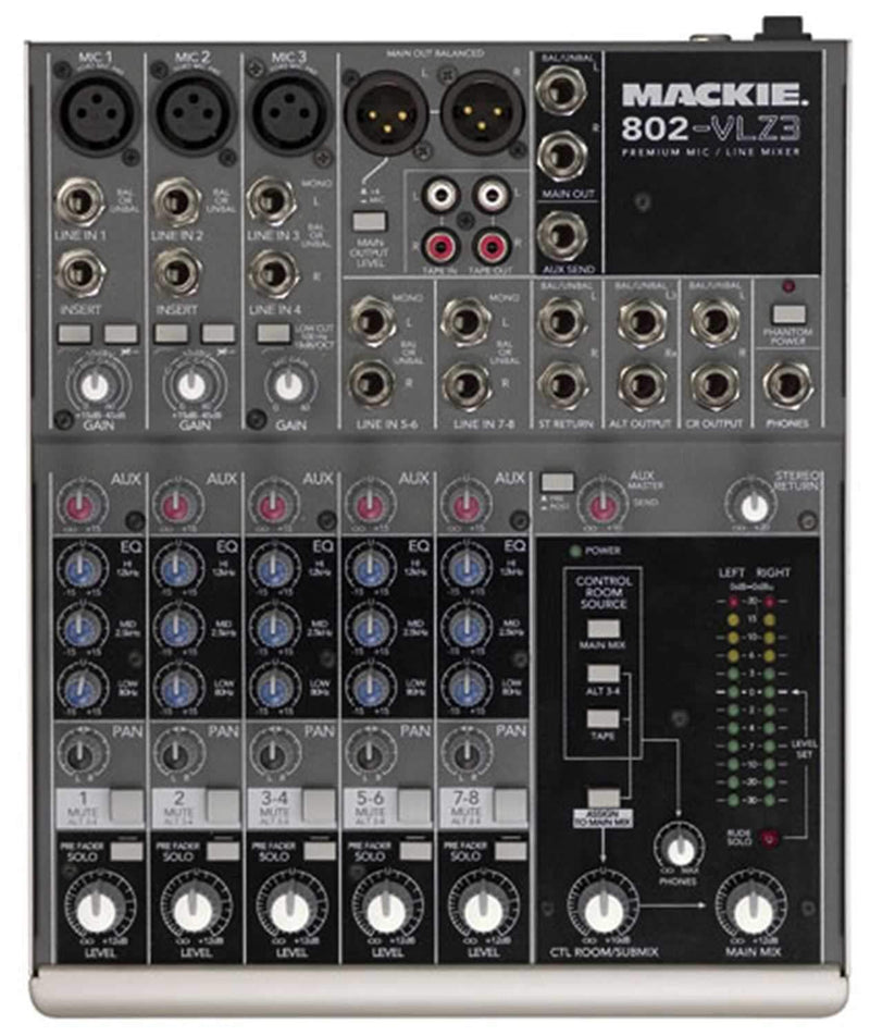 Mackie 802-VLZ3 8Ch Mixer with 3 XDR MicPres & EQ - ProSound and Stage Lighting
