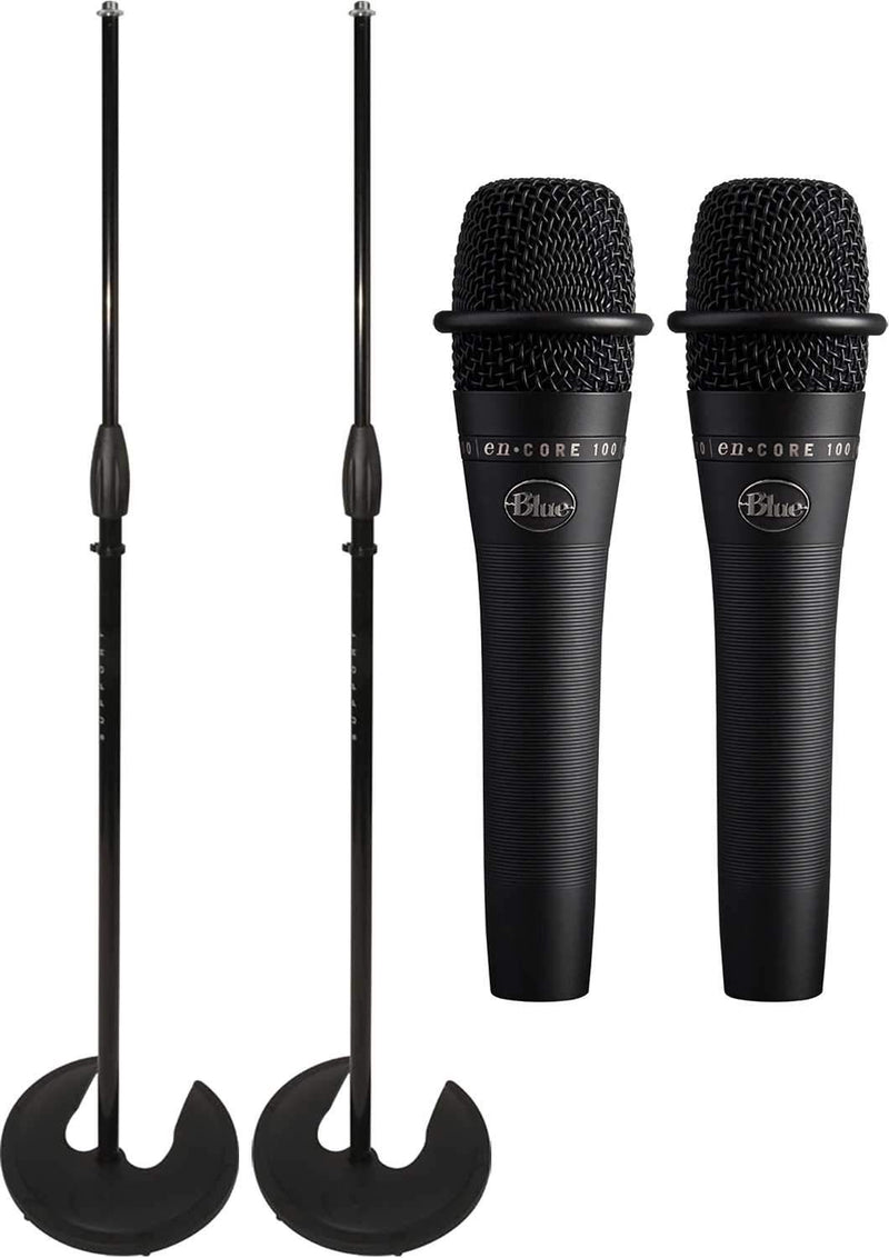 Blue enCore 100 Black Mic Pair with Ultimate Stackable Mic Stands - PSSL ProSound and Stage Lighting
