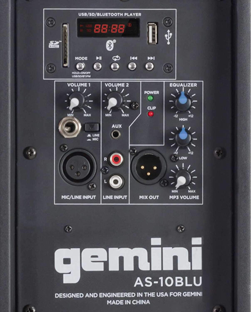 Gemini AS-10BLU 10-Inch Powered Speaker with Bluetooth - PSSL ProSound and Stage Lighting