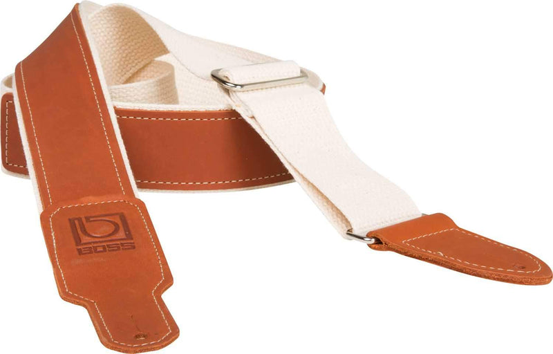 Boss BSH-20-NAT 2-Inch Brown Leather Guitar Strap - ProSound and Stage Lighting