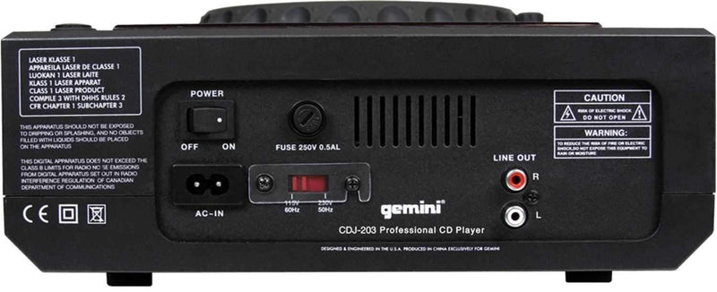 Gemini CDJ-203 Single Table Top CD Player - PSSL ProSound and Stage Lighting