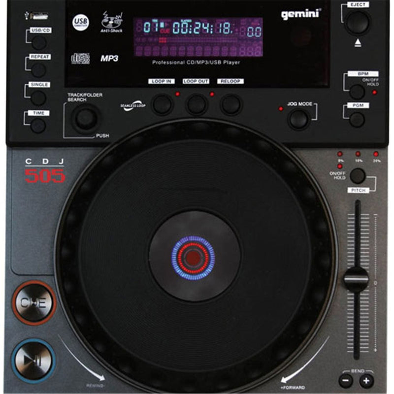 Gemini CDJ-505 Table Top CD/MP3/USB Player - PSSL ProSound and Stage Lighting
