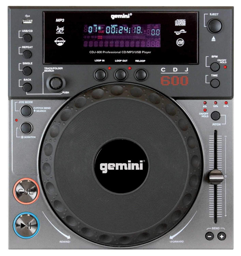 Gemini CDJ-600 Single CD/MP3/USB Player - PSSL ProSound and Stage Lighting