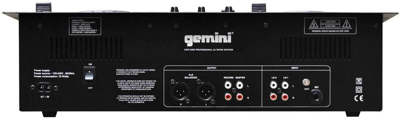 Gemini CDM-3250 Dual CD/MP3 Mixer Combo Player - ProSound and Stage Lighting