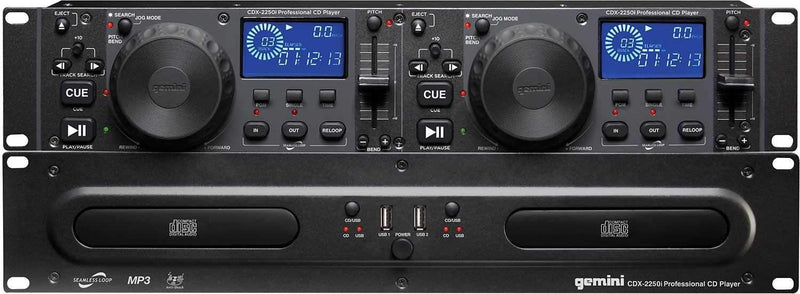 Gemini CDX-2250i Rackmount Dual CD Player with Dual USB Inputs - PSSL ProSound and Stage Lighting