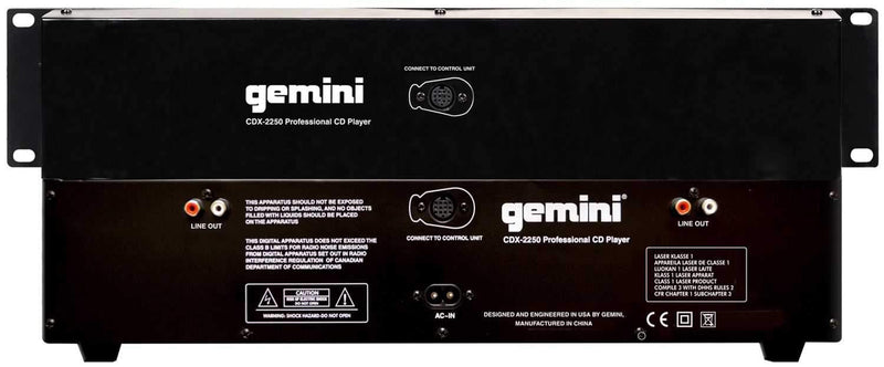 Gemini CDX-2250 2U Rackmount Dual DJ CD/MP3 Player - PSSL ProSound and Stage Lighting