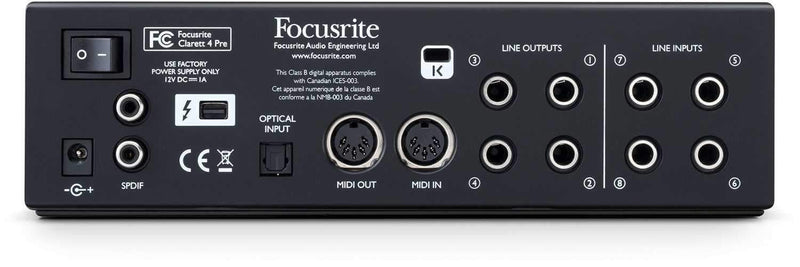 Focusrite Clarett 4Pre USB 18-in, 8-out Audio Interface - PSSL ProSound and Stage Lighting