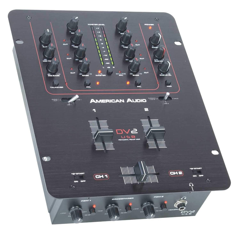 American Audio DV2 USB 2 Ch DJ Mixer with Audio I/O - PSSL ProSound and Stage Lighting