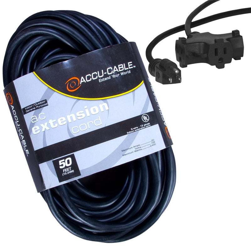 Accu-Cable EC-123-3FER50 50 Ft Triple Tap Extension Cord 12AWG - PSSL ProSound and Stage Lighting