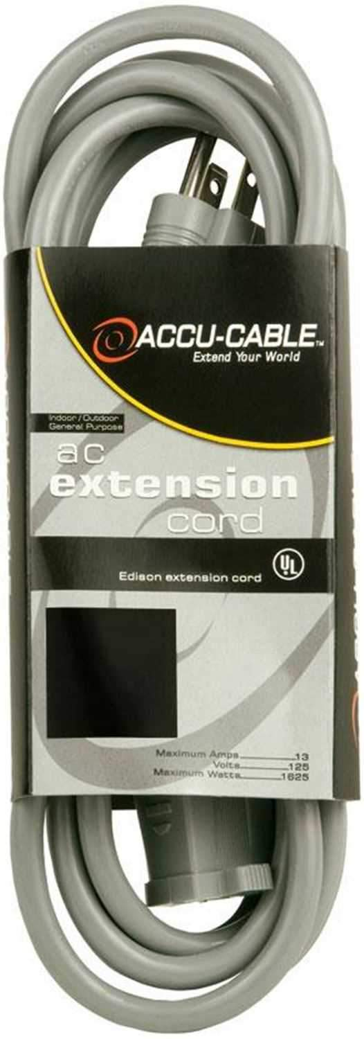 Accu-Cable EC16325G 25Ft 16G Extension Cord - Grey - ProSound and Stage Lighting