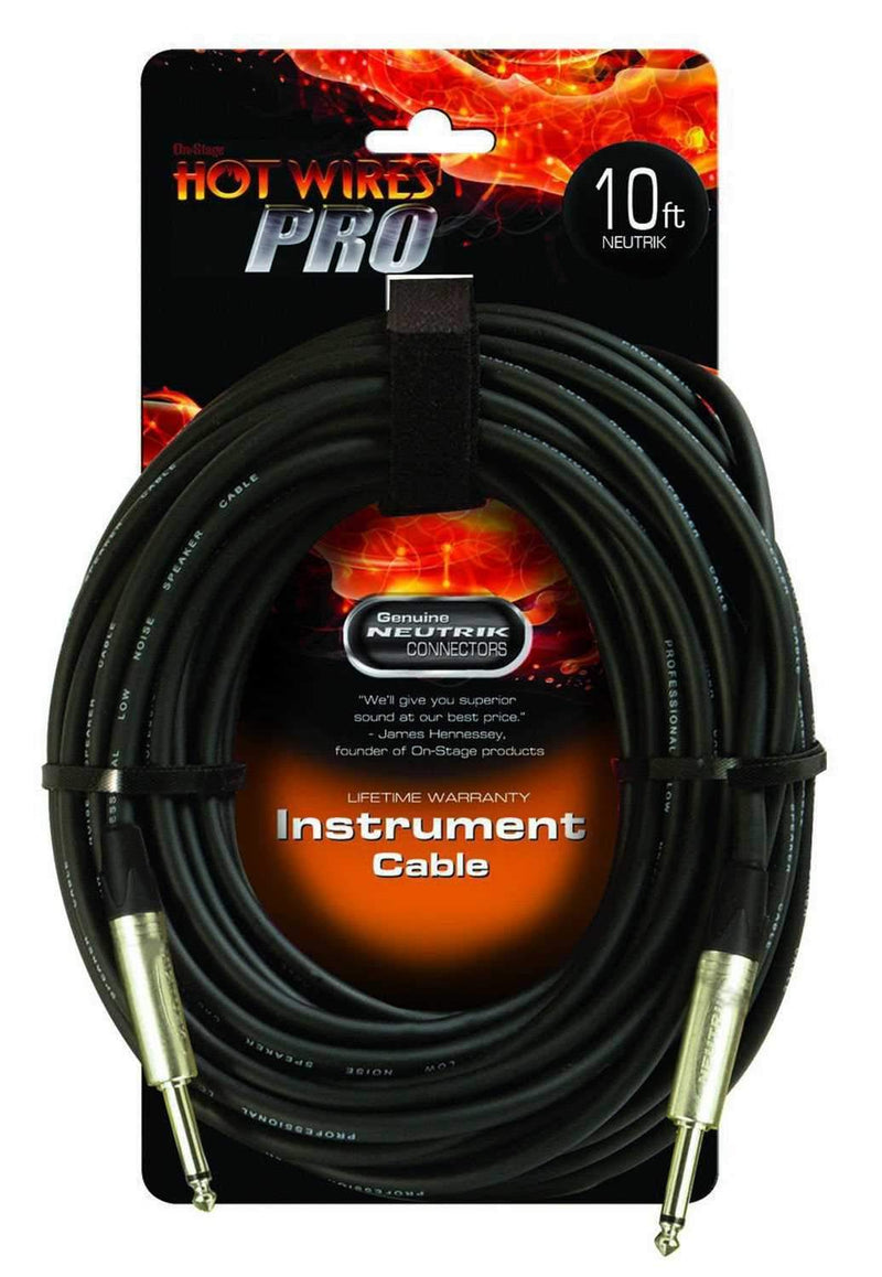 On-Stage 10ft Instrument Cable with Neutrik Connector - PSSL ProSound and Stage Lighting