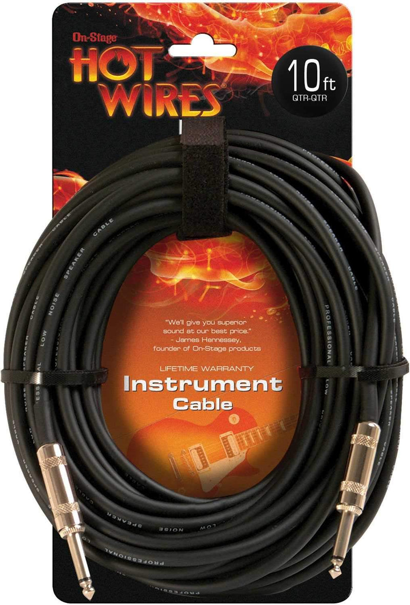 On Stage Professional Instrument Cable 10 Ft - PSSL ProSound and Stage Lighting