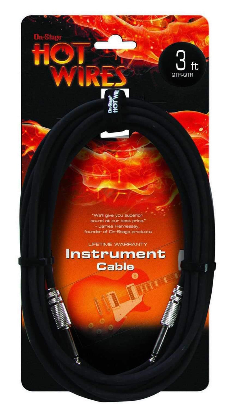 On Stage Instrument Cable 3 Ft - PSSL ProSound and Stage Lighting